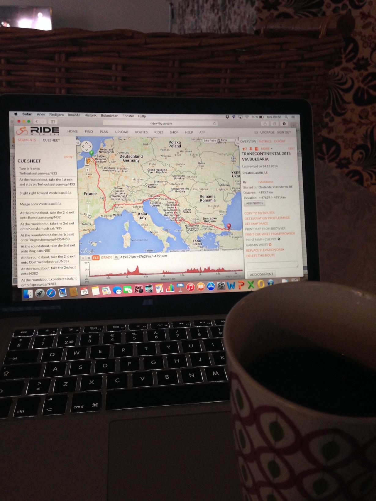 Många timmar med kaffemuggen och Ride with GPS.