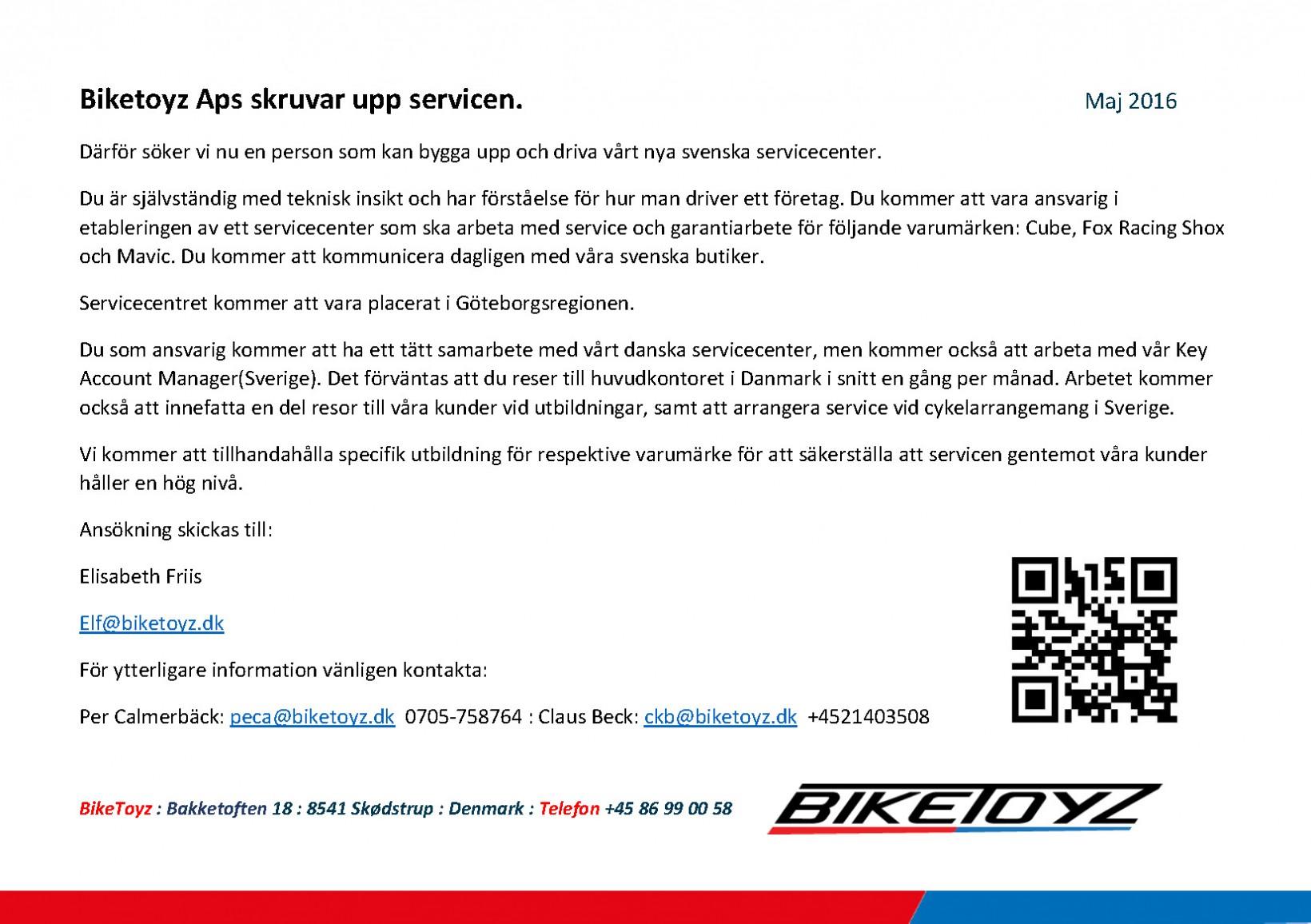 Biketoyz Aps skruvar upp servicen A5