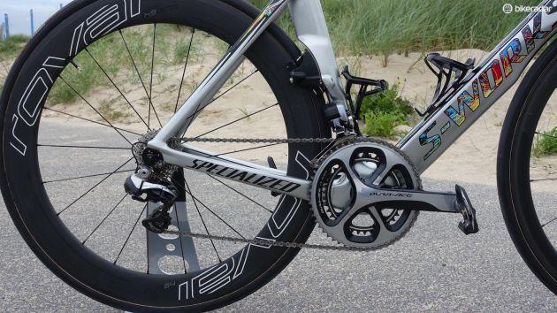 Kittel ska ha varit väldigt involverad i designprocessen och jobbade tätt ihop med de anställda på Specialized för att få till den här skönheten. Utväxlingen på Shimano Dura Ace Di2-drivlinan är 53/39 fram och 11-25 bak. (Foto: Nick Legan/BikeRadar)
