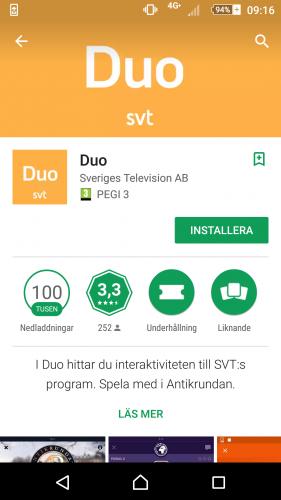 1. Gå in i App Store eller Google Play, sök på 'Duo' och öppna appen.
