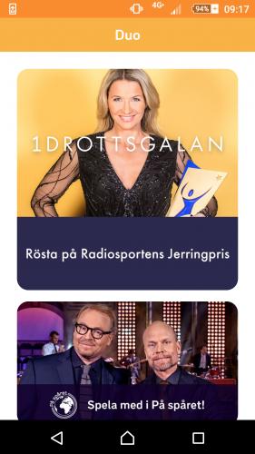 2. Öppna appen och klicka på 'Rösta på Radiosportens Jerringpris'.
