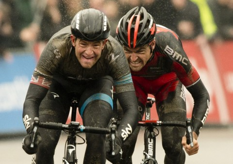 20140301 - GENT, BELGIUM: Belgian Greg Van Avermaet (R) of BMC Racing Team and British Ian Stannard (L) of Team Sky sprint for the finish line at the end of the 69th edition of the Omloop Het Nieuwsblad cycling race, Saturday 01 March 2014, in Gent. BELGA PHOTO BENOIT DOPPAGNE