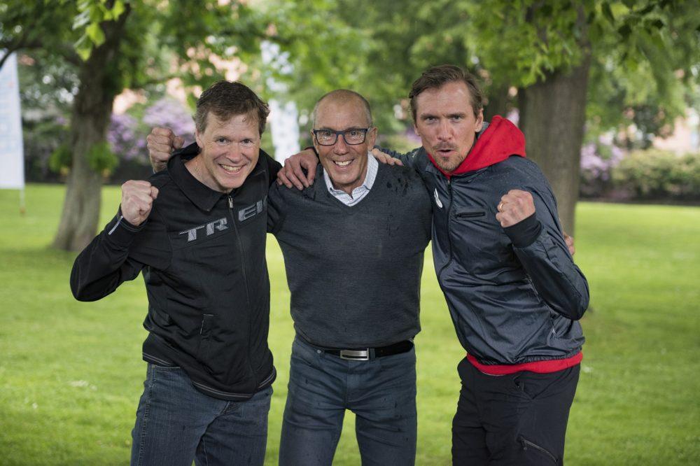 Tre OS-guldmedaljörer som är heltaggade för Vätternrundan. Från vänster Tomas Gustafson, Bernt Johansson och Johan Olsson.